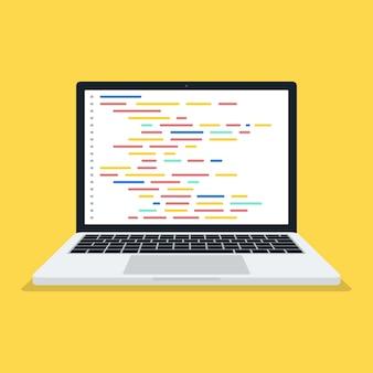 Codice sullo schermo portatile isolato su giallo