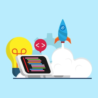 Concetto di codifica con design piatto illustrazione laptop