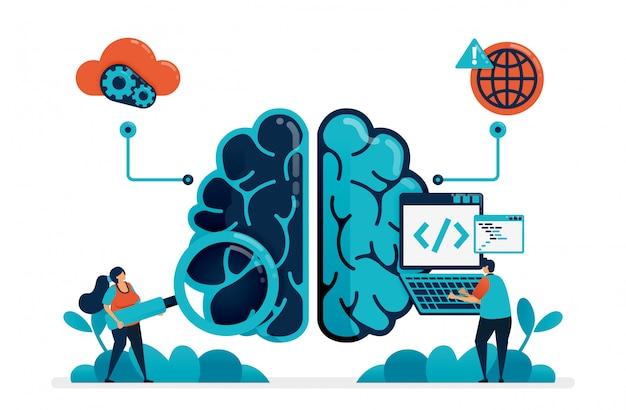 Codifica per creare un programma di intelligenza artificiale. in cerca di bug nel robot del cervello artificiale. tecnologia intelligente sull'intelligenza artificiale. internet delle cose.