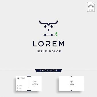 Vettore di progettazione di logo del gufo di codifica