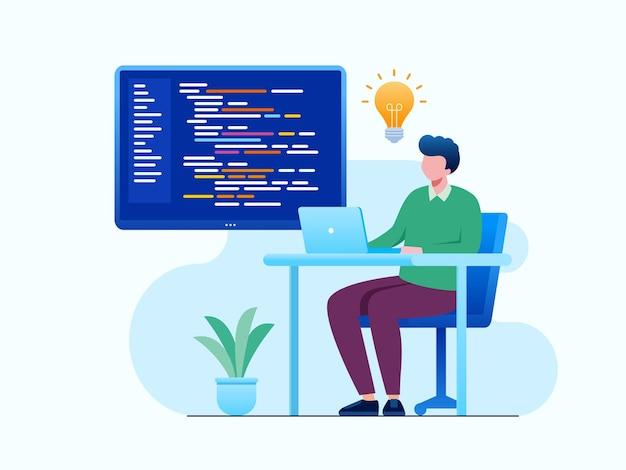 Modello di illustrazione vettoriale piatto sviluppatore programmatore di codifica