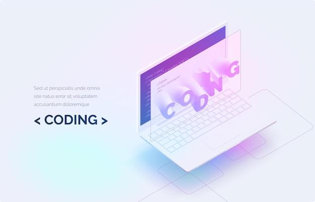 Codifica computer portatile realistico con codice programma sullo schermo