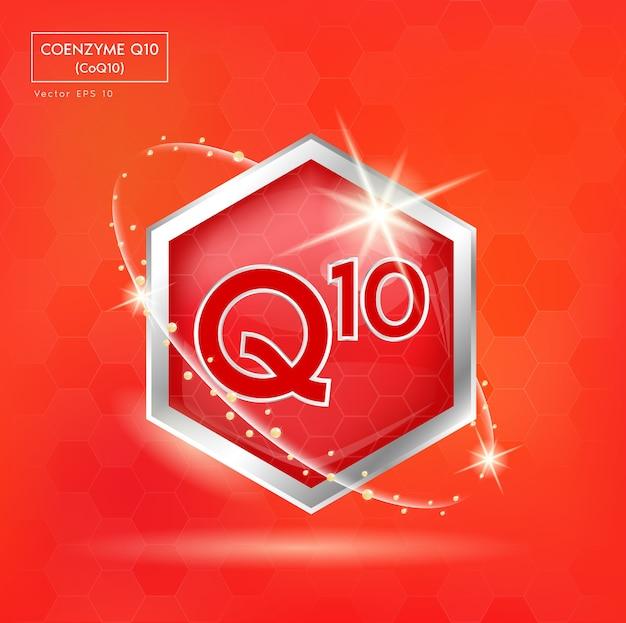 Etichetta del concetto di coenzima q10 in lettere rosse in cornice d'argento. per la progettazione di prodotti.