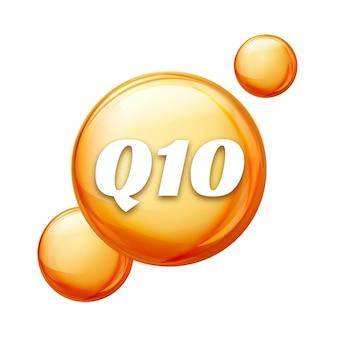 Coenzima q10. olio d'oro. capsula di pillola a goccia di trattamento. q10 cura della pelle benessere.