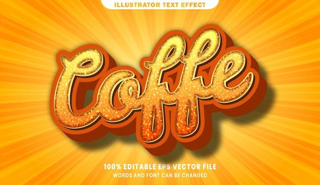 Coffe 3d effetto di stile di testo modificabile