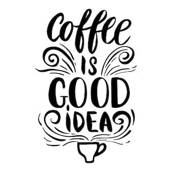 Il caffè è una buona illustrazione di idea Vettore Premium