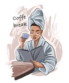 Slogan di coffe time con donna con un asciugamano in testa