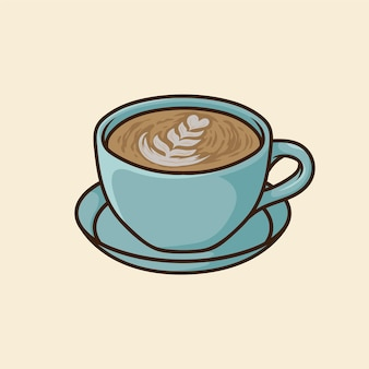 Caffè con simpatico cartone animato piatto blu tazza disegnata a mano vettore isolato