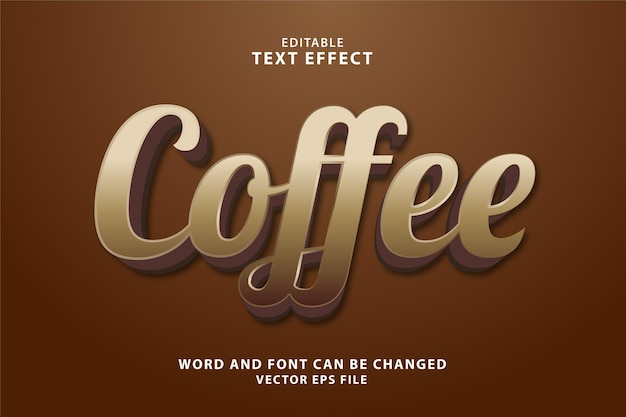 Effetto di testo modificabile 3d caffè
