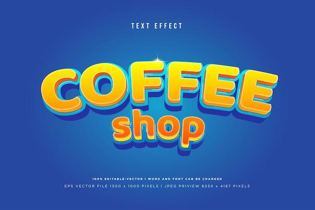 Effetto di testo 3d caffè sul blu