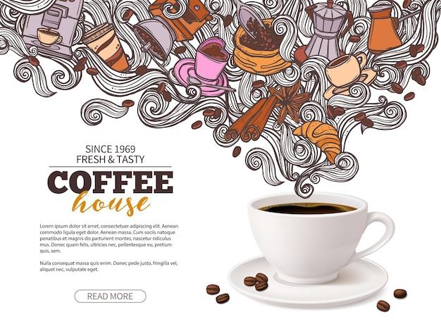 Progettazione di banner pubblicitari caffè con tazza di caffè 3d e fagioli doodle disegnati a mano