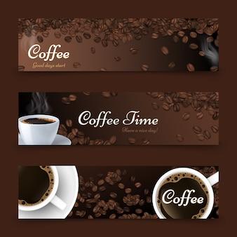 Sfondo di caffè. realistico caffè vista dall'alto, vettore bianco tazza di bevanda. fagioli arrostiti. modello di banner ristorante bar caffetteria