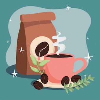Bustina e tazza di caffè