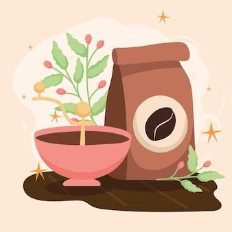 Sacchetto di caffè e pianta d'appartamento