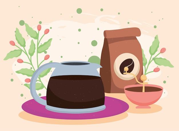 Bustina di caffè e bollitore