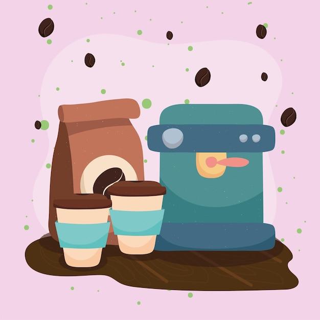 Sacchetto di caffè e macchina
