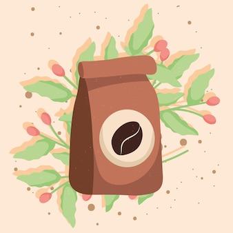 Sacchetto di caffè e pianta
