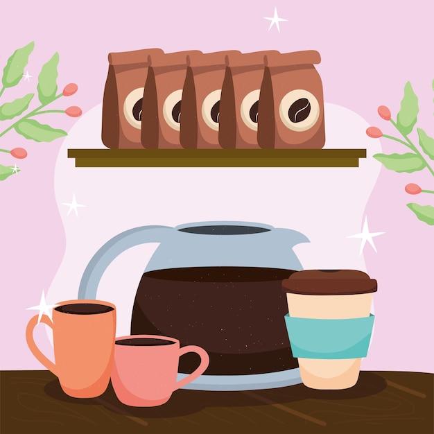 Sacchetti di caffè e teiera