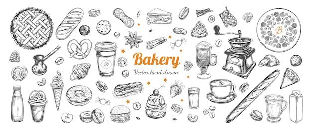 Elementi disegnati a mano di caffè e prodotti da forno modello con illustrazioni di schizzo d'epoca