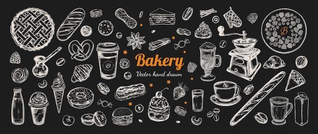 Elementi disegnati a mano di caffè e prodotti da forno. modello con illustrazioni di schizzo d'epoca.