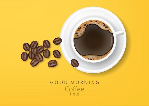 Illustrazione realistica dei chicchi di caffè dell'insegna del caffè