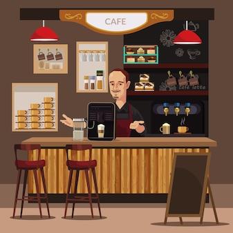 Illustrazione di bar e barista