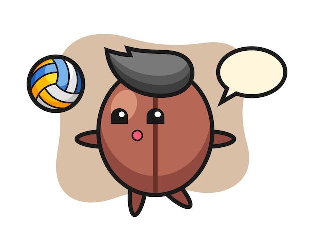 Il fumetto del chicco di caffè sta giocando a pallavolo