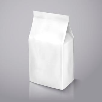 Pacchetto di chicchi di caffè, pacchetto di lamina bianco perla nell'illustrazione per usi