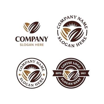 Collezione di set di logo premium in chicco di caffè