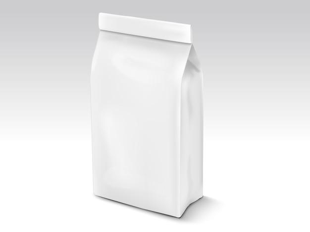 Sacchetto di chicchi di caffè o foglie di tè, modello di sacchetto di illustrazione per usi, sacchetto di alluminio bianco perla