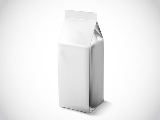 Sacchetto di chicchi di caffè o foglie di tè, modello di sacchetto di illustrazione per usi, sacchetto di lamina d'argento