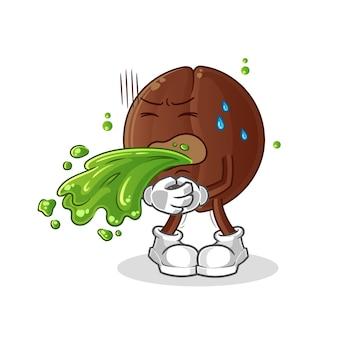 Chicco di caffè vomitare cartone animato. mascotte dei cartoni animati