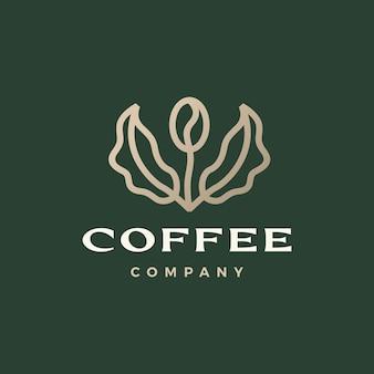 Illustrazione dell'icona di vettore del logo del germoglio della foglia dell'albero del chicco di caffè