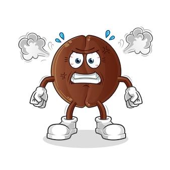 Mascotte molto arrabbiata del chicco di caffè. cartone animato