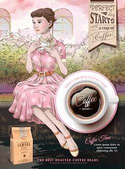 Annunci di chicchi di caffè con signora elegante che mangia un tè pomeridiano in giardino