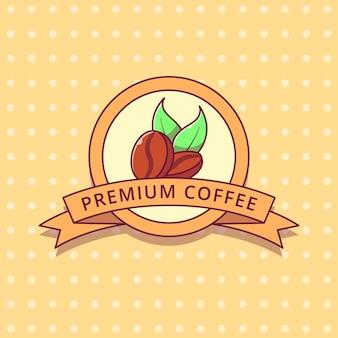 Etichetta del distintivo piatto di logo del fumetto dei chicchi di caffè.