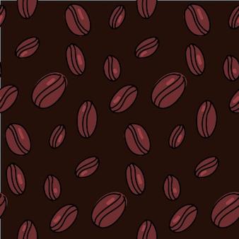 Modello di chicchi di caffè. fondo senza cuciture scuro con i semi marroni disegnati a mano. trama vettoriale.