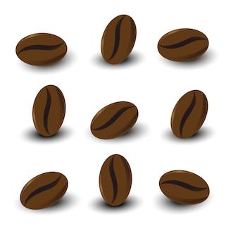 I chicchi di caffè hanno impostato su priorità bassa bianca isolata