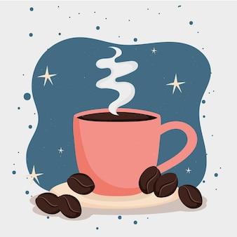 Chicchi di caffè con tazza