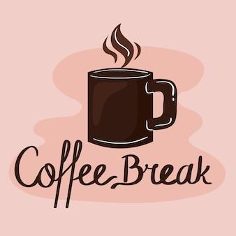 Etichetta pausa caffè con tazza