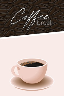 Scritta e tazza per la pausa caffè