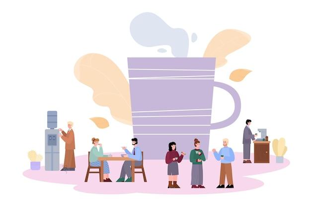 Pausa caffè nell'insegna dell'ufficio con l'illustrazione di vettore del fumetto della gente isolata