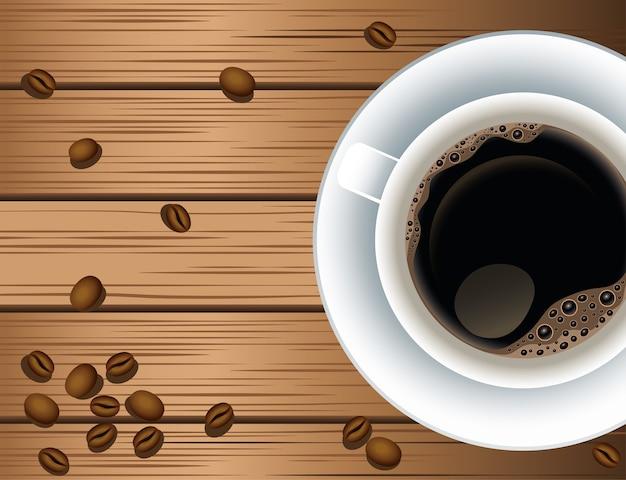 Manifesto della pausa caffè con tazza e semi nel disegno dell'illustrazione di vettore del fondo di legno