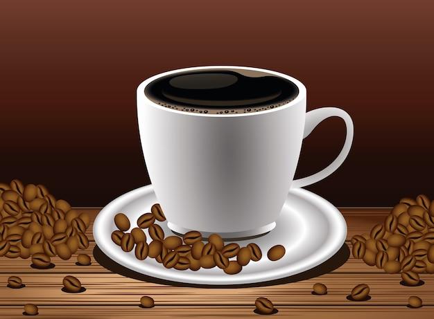 Poster di pausa caffè con tazza e semi nel disegno di illustrazione vettoriale di tavolo in legno