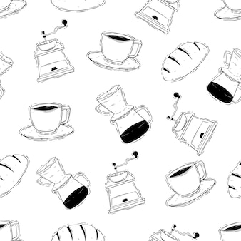Pausa caffè con caffettiera in un modello senza cuciture utilizzando lo stile di disegno a mano o scarabocchio