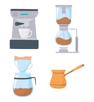 Metodi di preparazione del caffè, caffè espresso turco e set di icone di gocciolamento