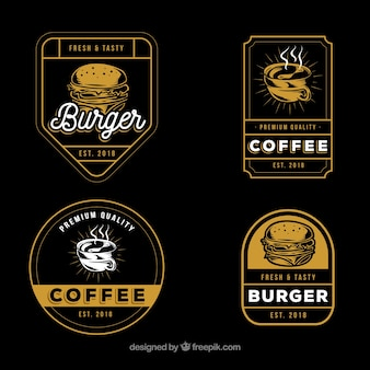 Collezione di logo caffè e hamburger con stile vintage
