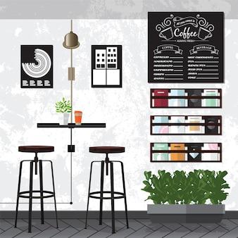 Interni di caffè e caffè