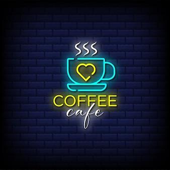 Testo in stile insegna al neon del caffè del caffè