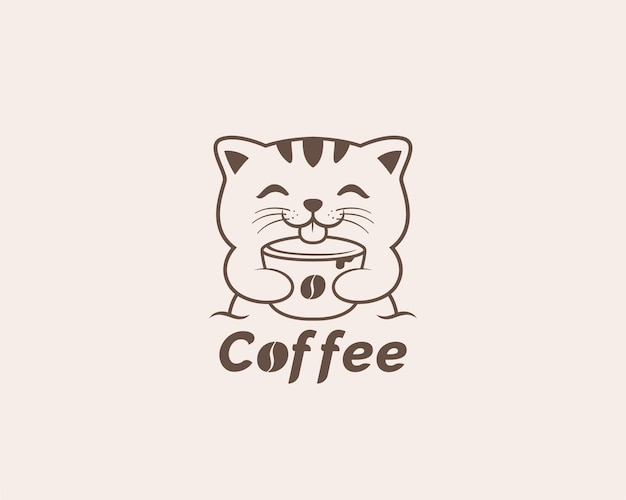 Disegno del logo del gatto del caffè